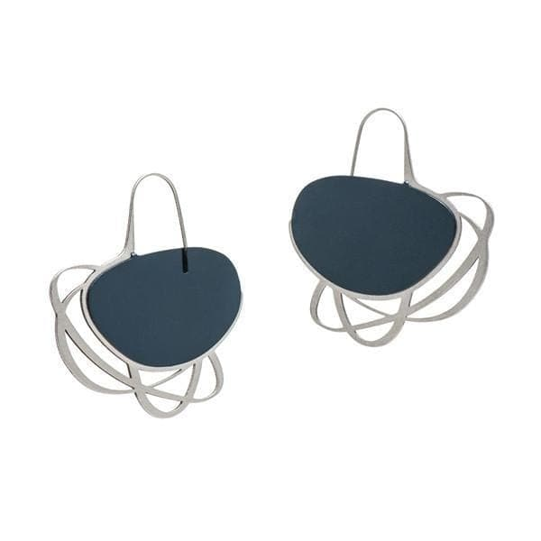 Pebble Earrings Medium Multi Line - Navy EARRINGS