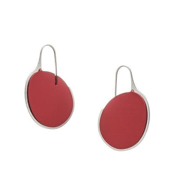 Pebble Earrings Small Frame - Ruby - inSync design