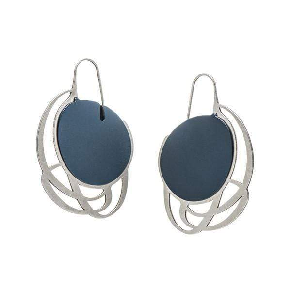 Pebble Earrings Small Multi Line - Navy - inSync design