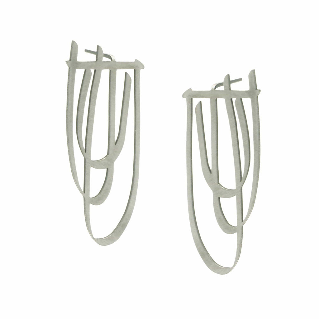 Swell Stud Earrings - Raw Stainless Steel - inSync design