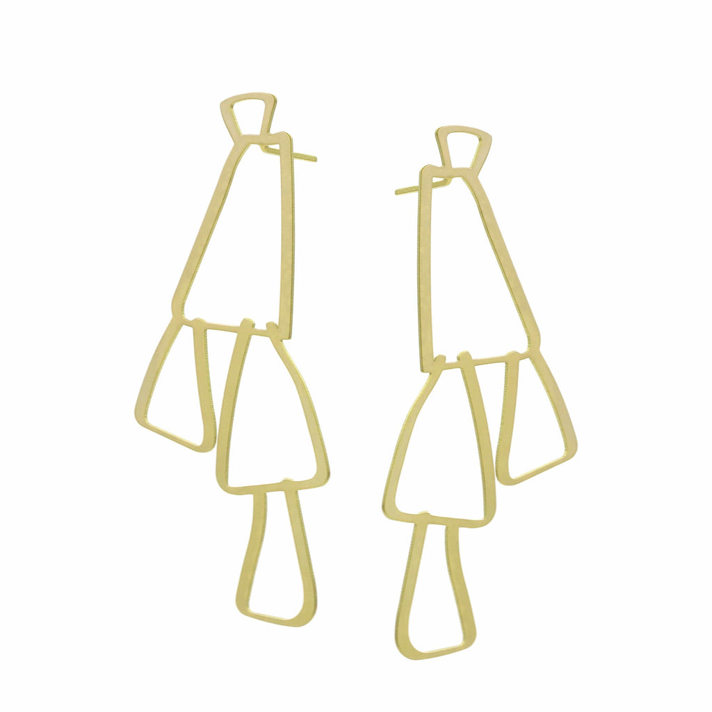 Swing Stud Earrings - 22ct Matt Gold Plate EARRINGS