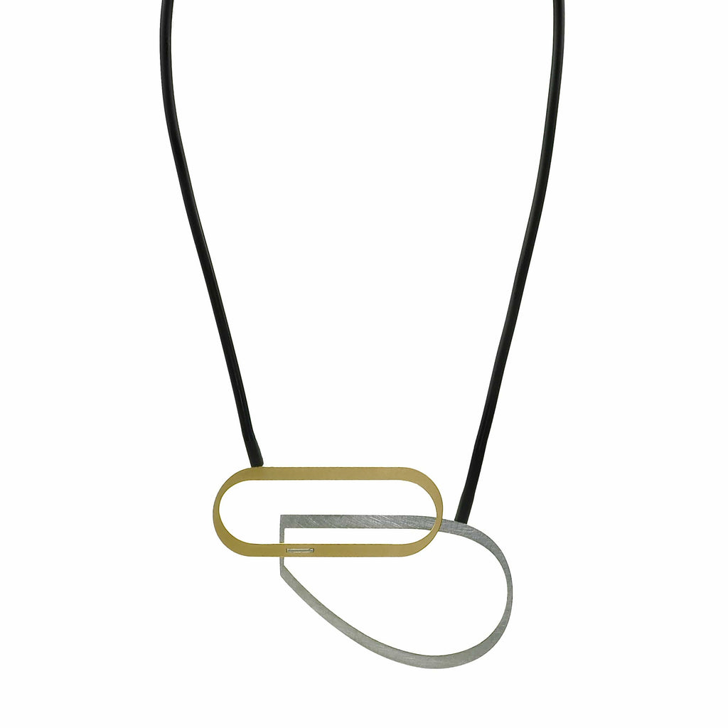 X2 Bend Necklace - Gold/ Black - inSync design