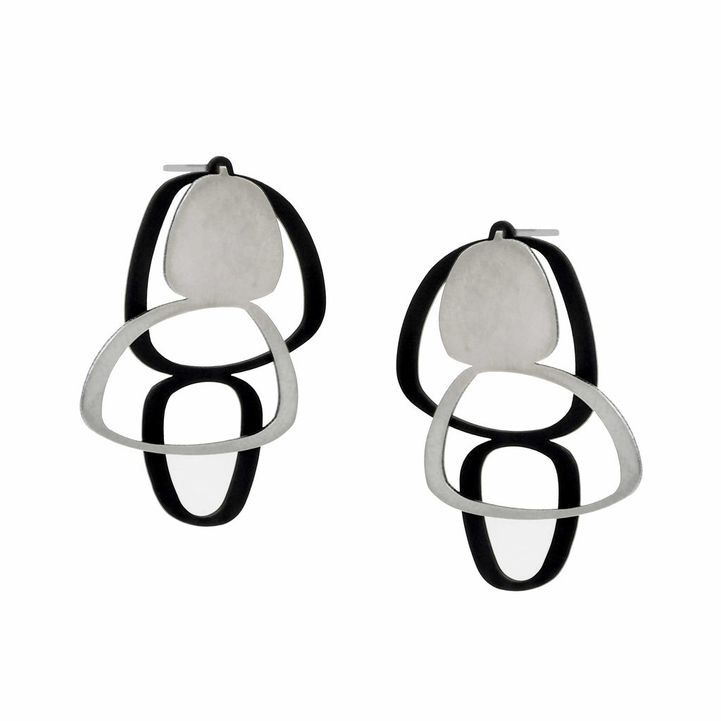 X2 Boulder Stud Earrings - Raw/ Black EARRINGS
