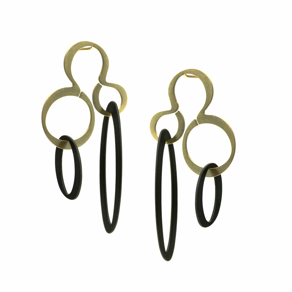 X2 Hang Earrings - Gold/ Black EARRINGS