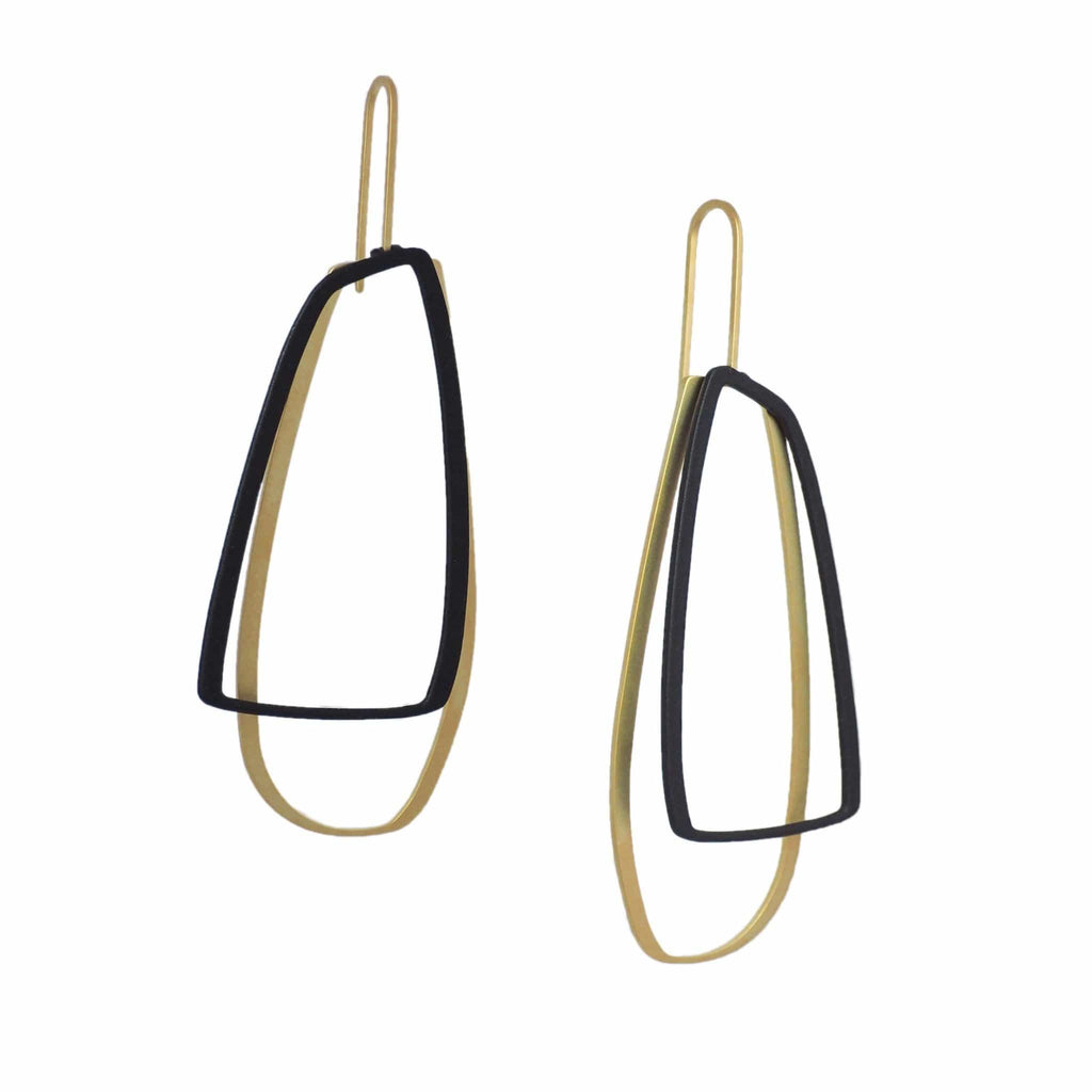 X2 Large Outline Earrings - Gold/ Black - inSync design