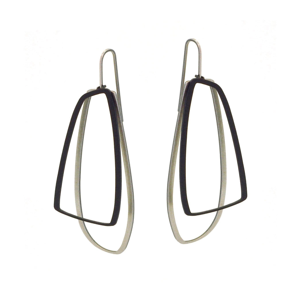 X2 Large Outline Earrings - Raw/ Black - inSync design