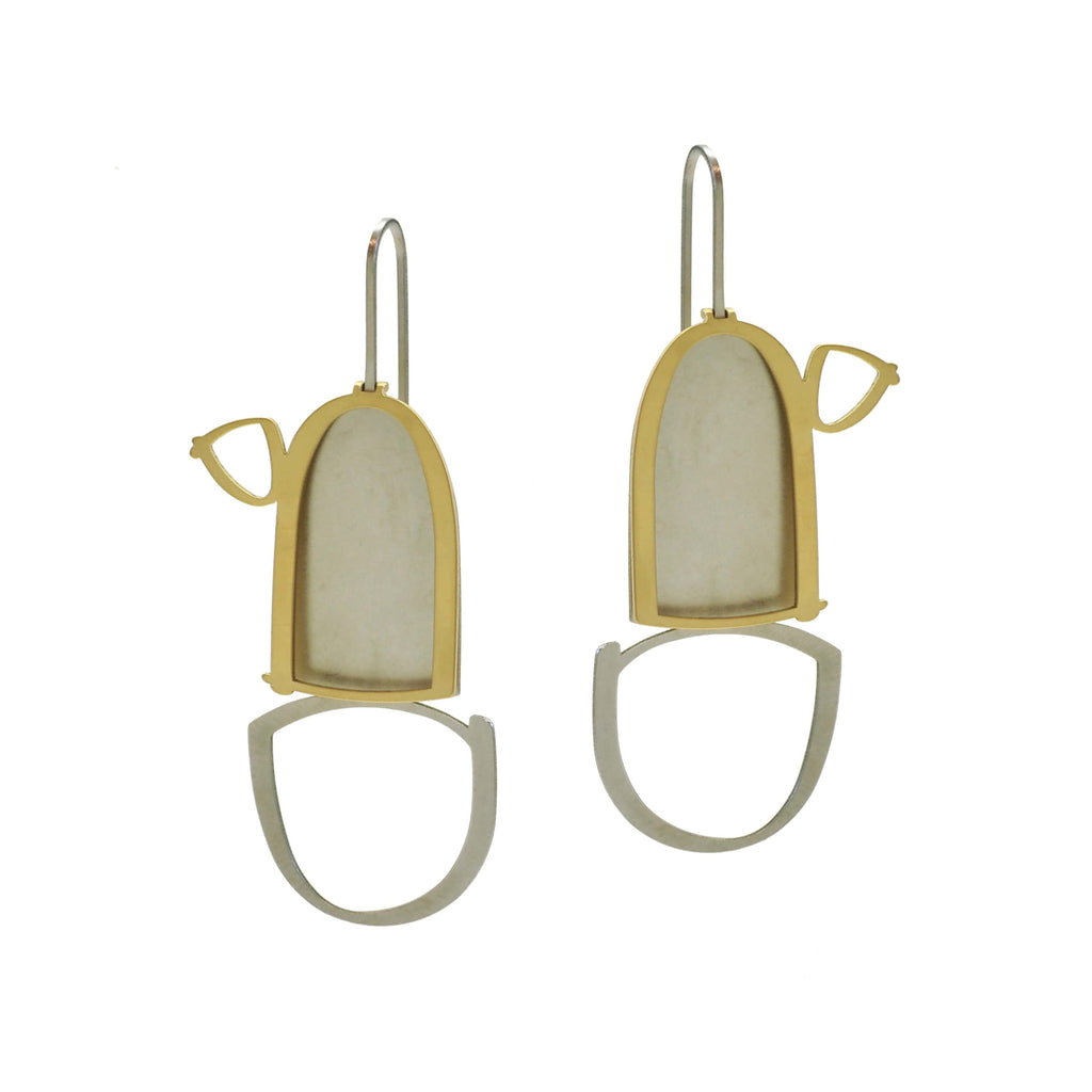 X2 Pillar Earrings - Raw/Gold EARRINGS