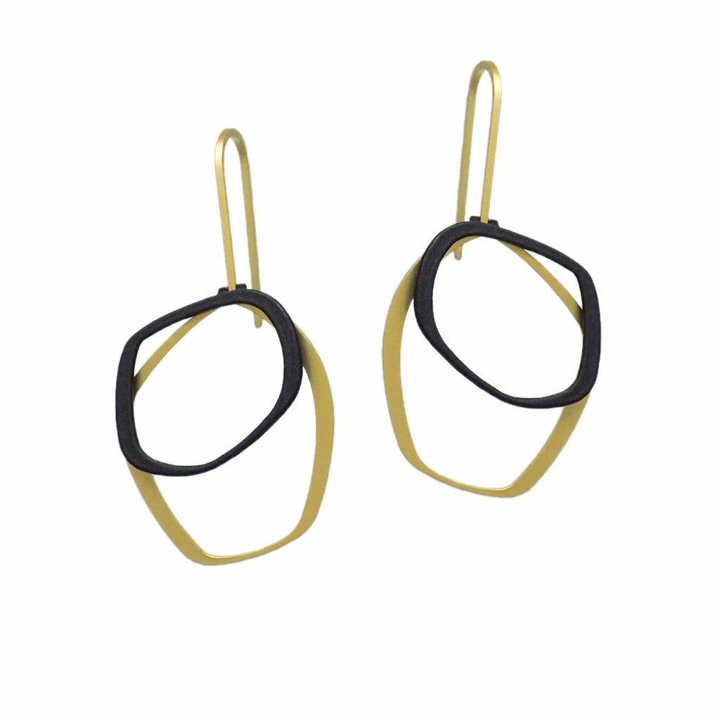 X2 Small Outline Earrings - Gold/ Raw - inSync design