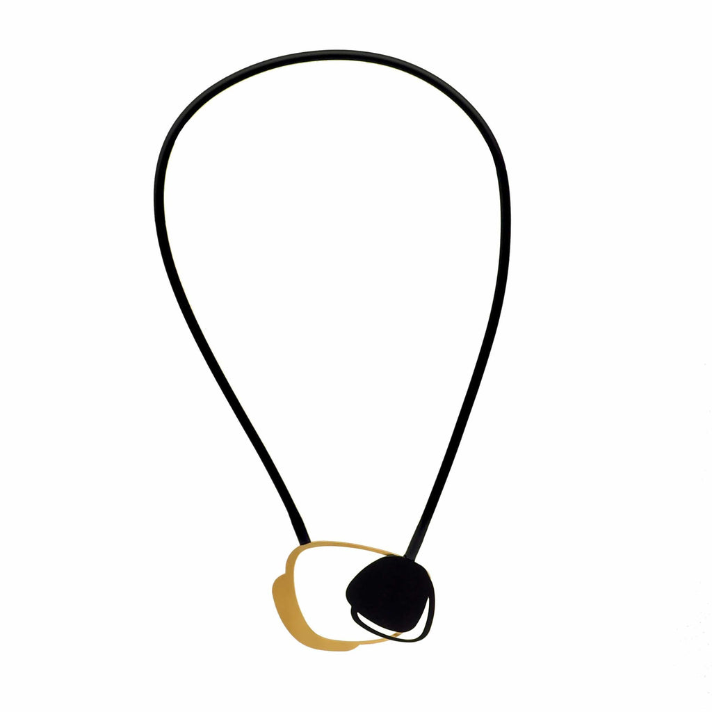 X2 Stone Necklace - Gold/ Black NECKLACE