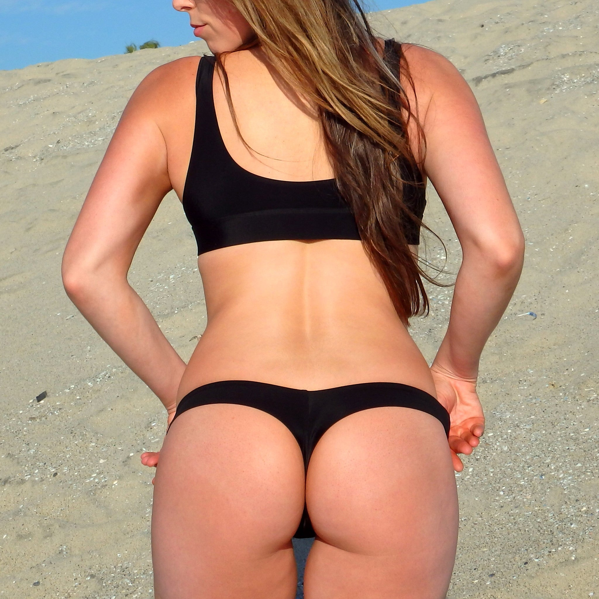 Black Brazilian Thong Bikini Bottoms - Shop Australian Women's Swimwear Online Kulani Kinis