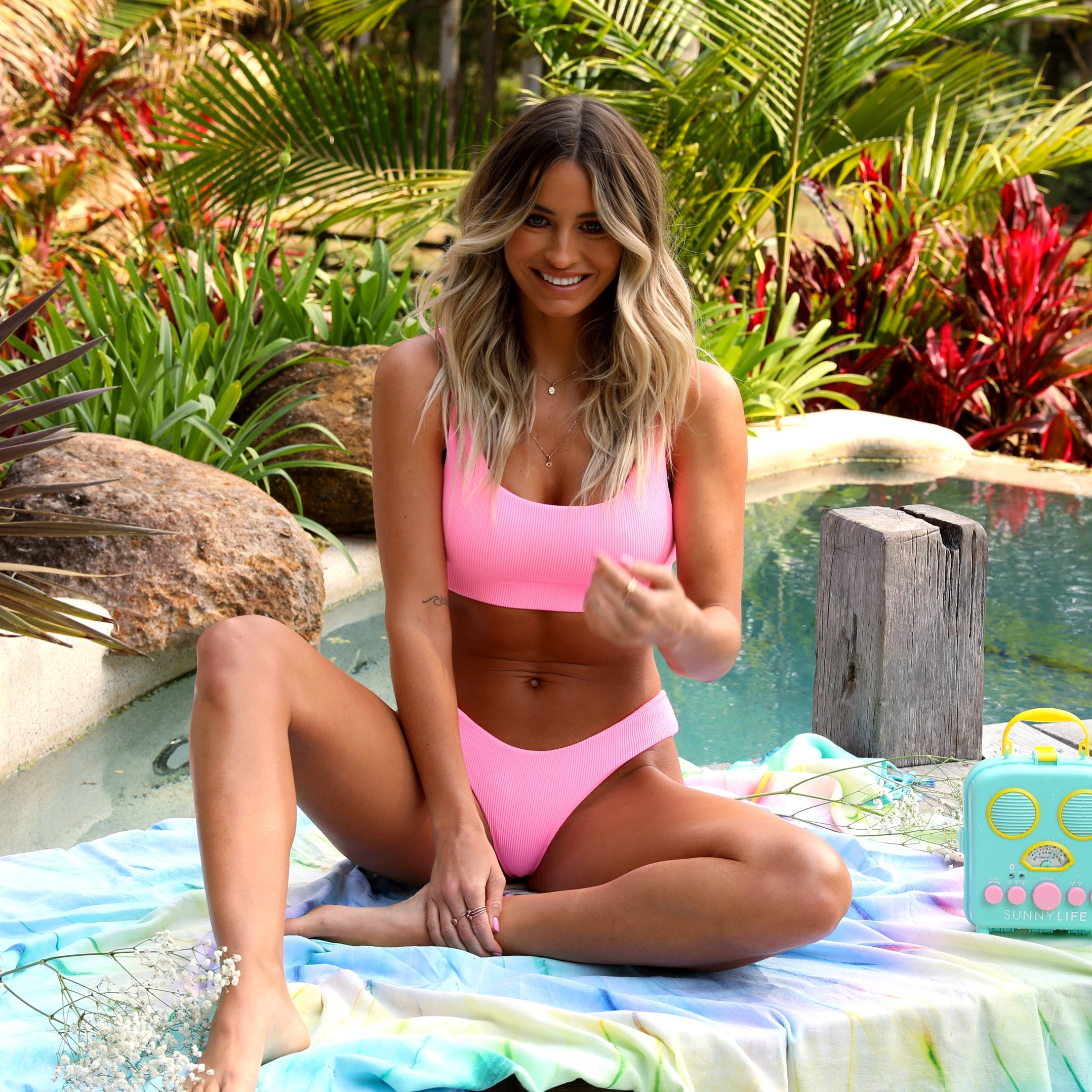Full Coverage Bikini Bottom - Barbie Pink Ribbed