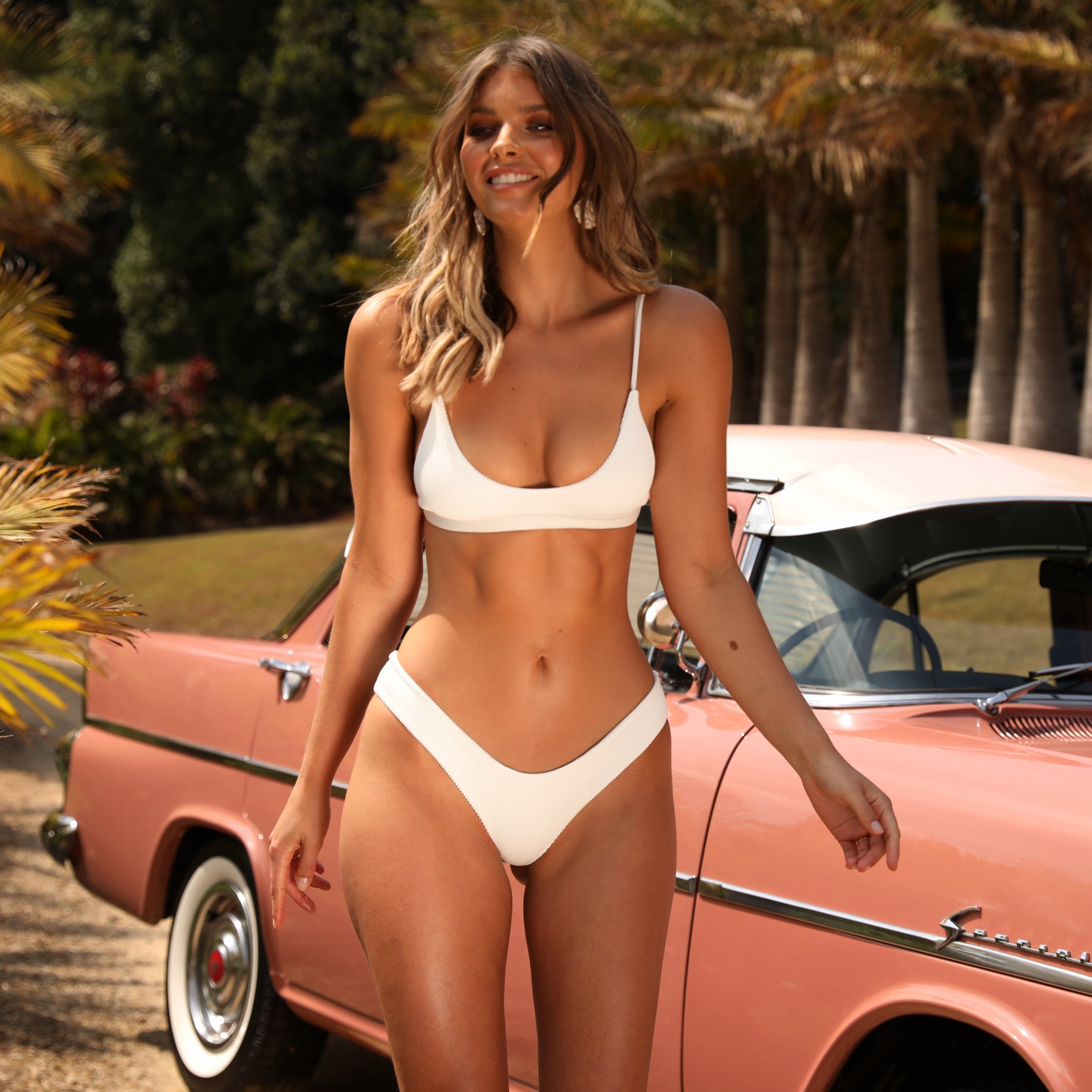 Full Coverage Bikini Bottom - White Ribbed