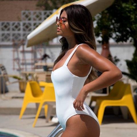 Cheeky Level One Piece Swimwear - White Ribbed