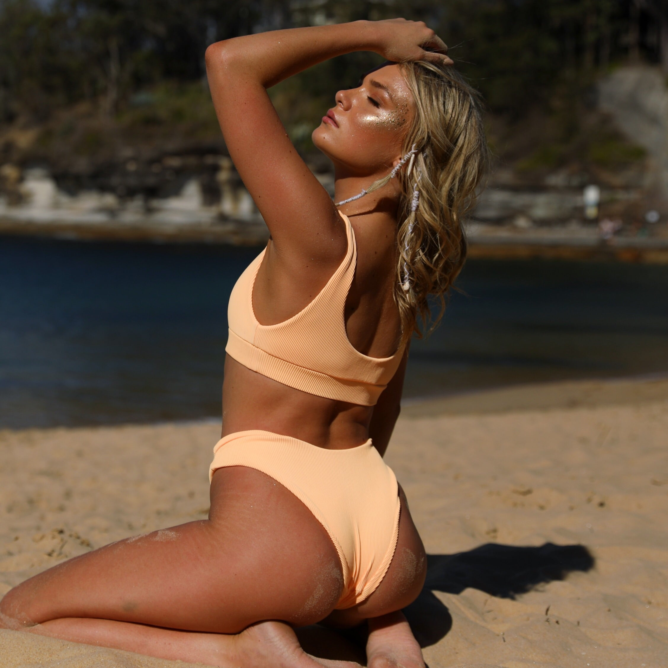 Full Coverage Bikini Bottom - Mango Ribbed