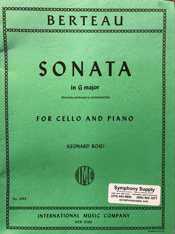 Berteau Sonata in G Major for Cello & Piano