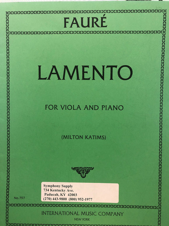 Faure Lamento for Viola and Piano