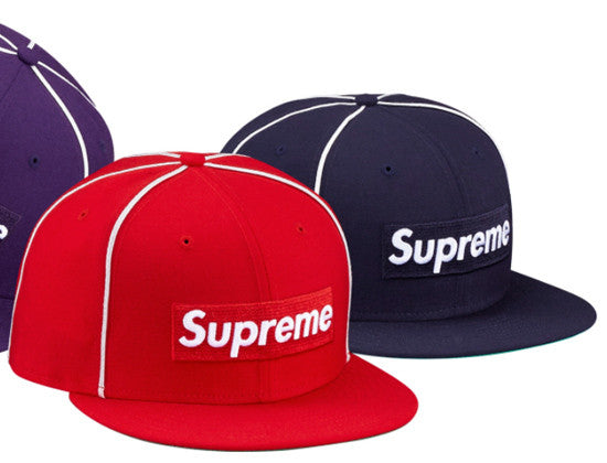 Authentic 2017 Spring Summer Box Logo Piping 59Fifty Fitted Cap by NEW ERA  x SUPREME 9a783d5762e
