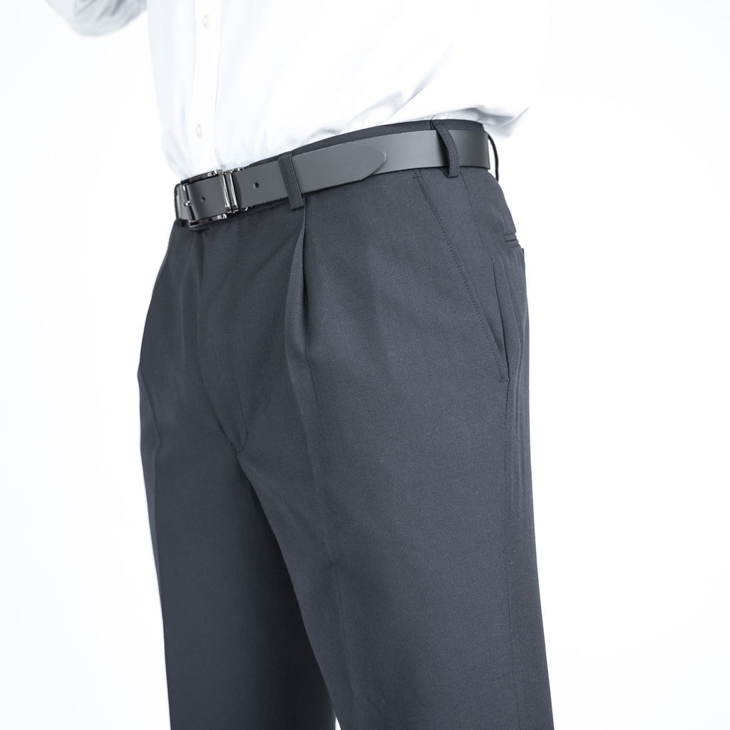 Navy Pleated Team Trousers
