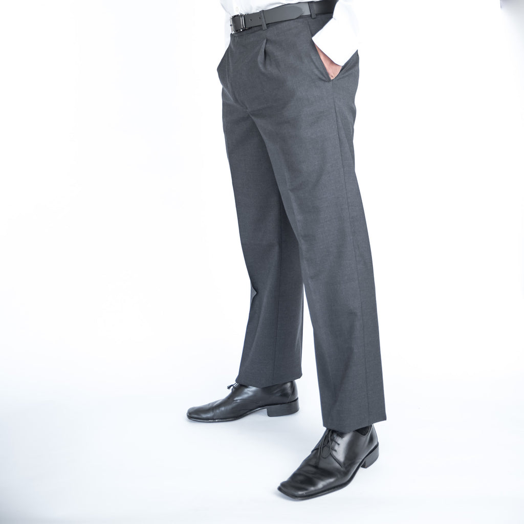Charcoal Pleated Team Trousers