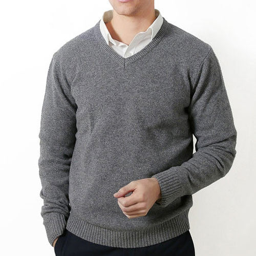 Grey V Neck Fratelli Knit