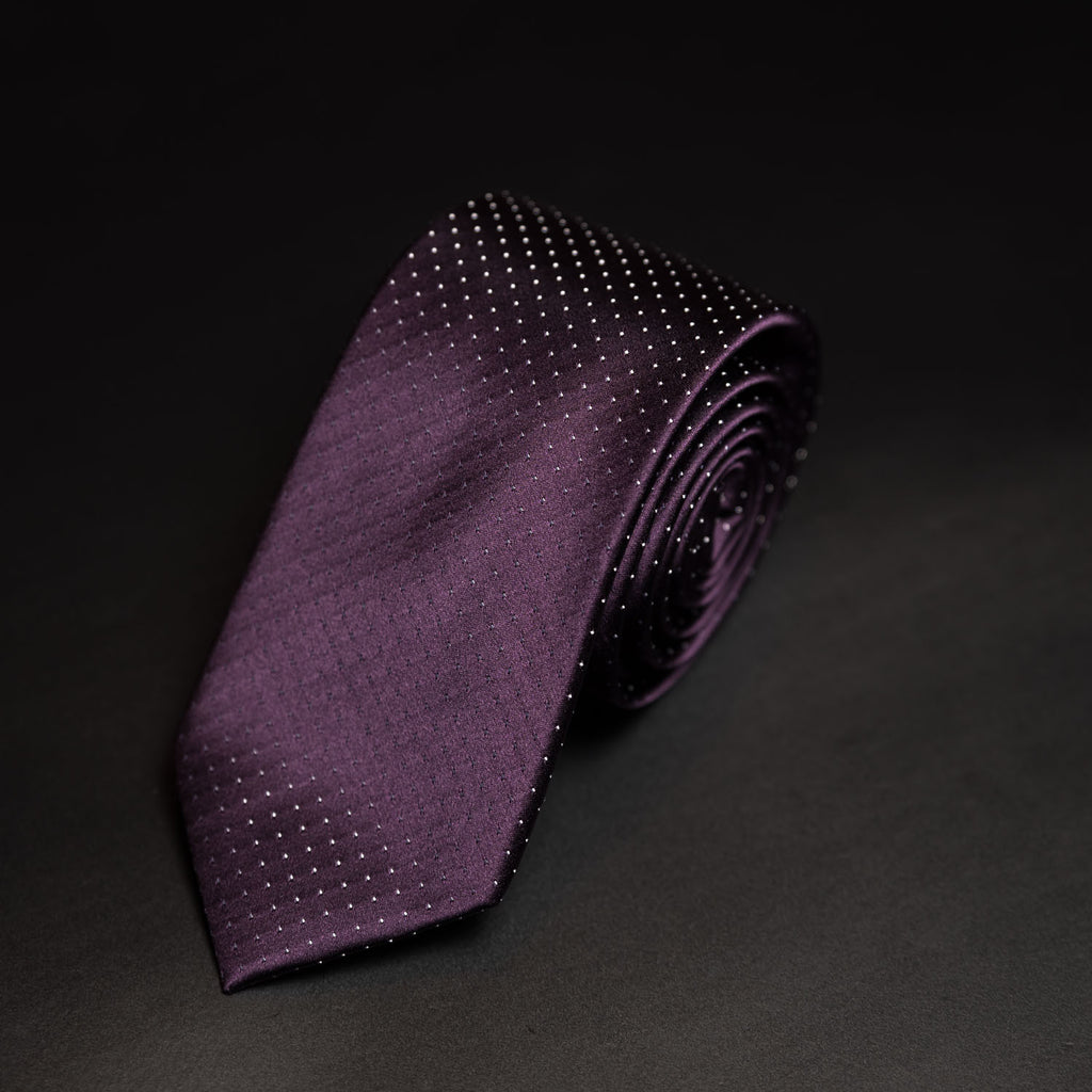Silk Purple Pin Dot Sergio Alvajee Tie