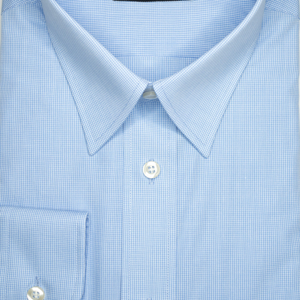 Blue Micro Check Continental Sires Business Shirt