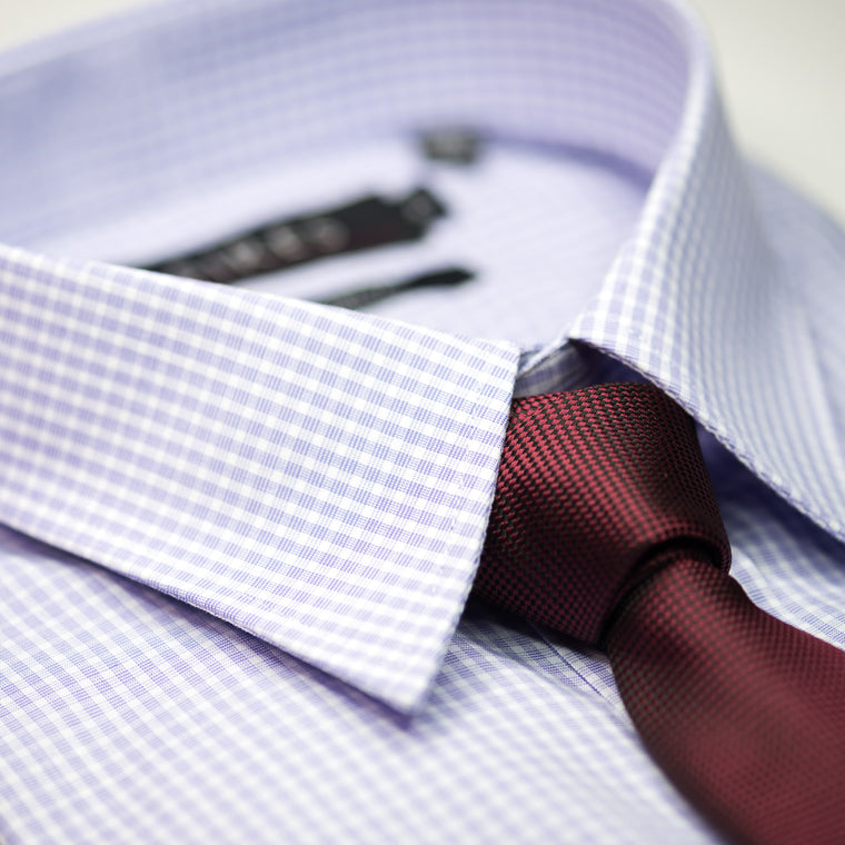Mauve Check Continental Sires Business Shirt