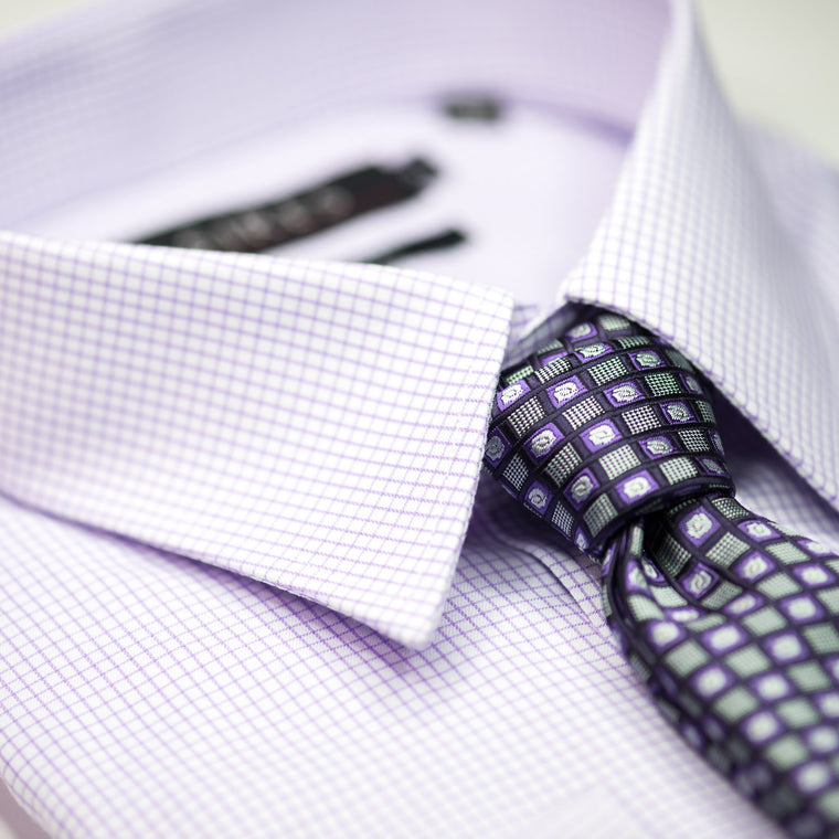 Lilac Check Continental Sires Business Shirt