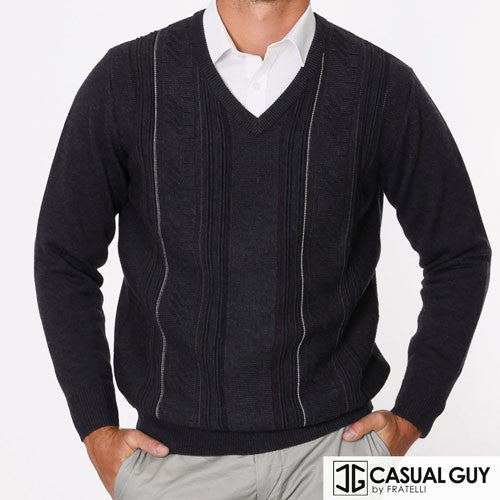 Charcoal Pattern V Neck Fratelli Knit