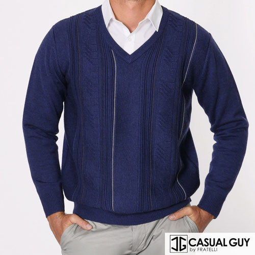 Navy Pattern V Neck Fratelli Knit