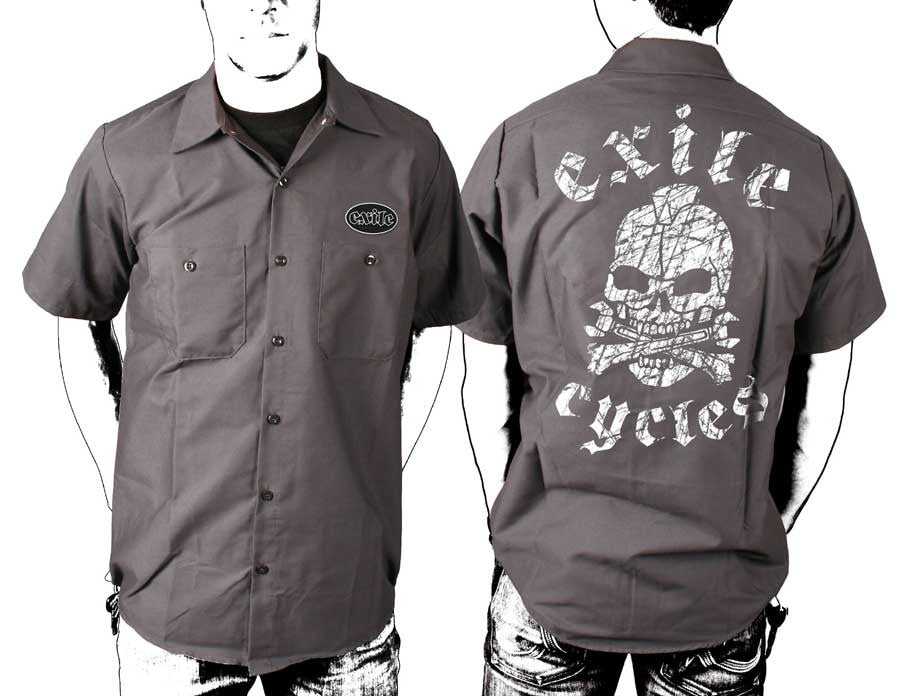 Exile Cycles - distressed exile skull - Dickies charcoal Workshirt - rodehawg