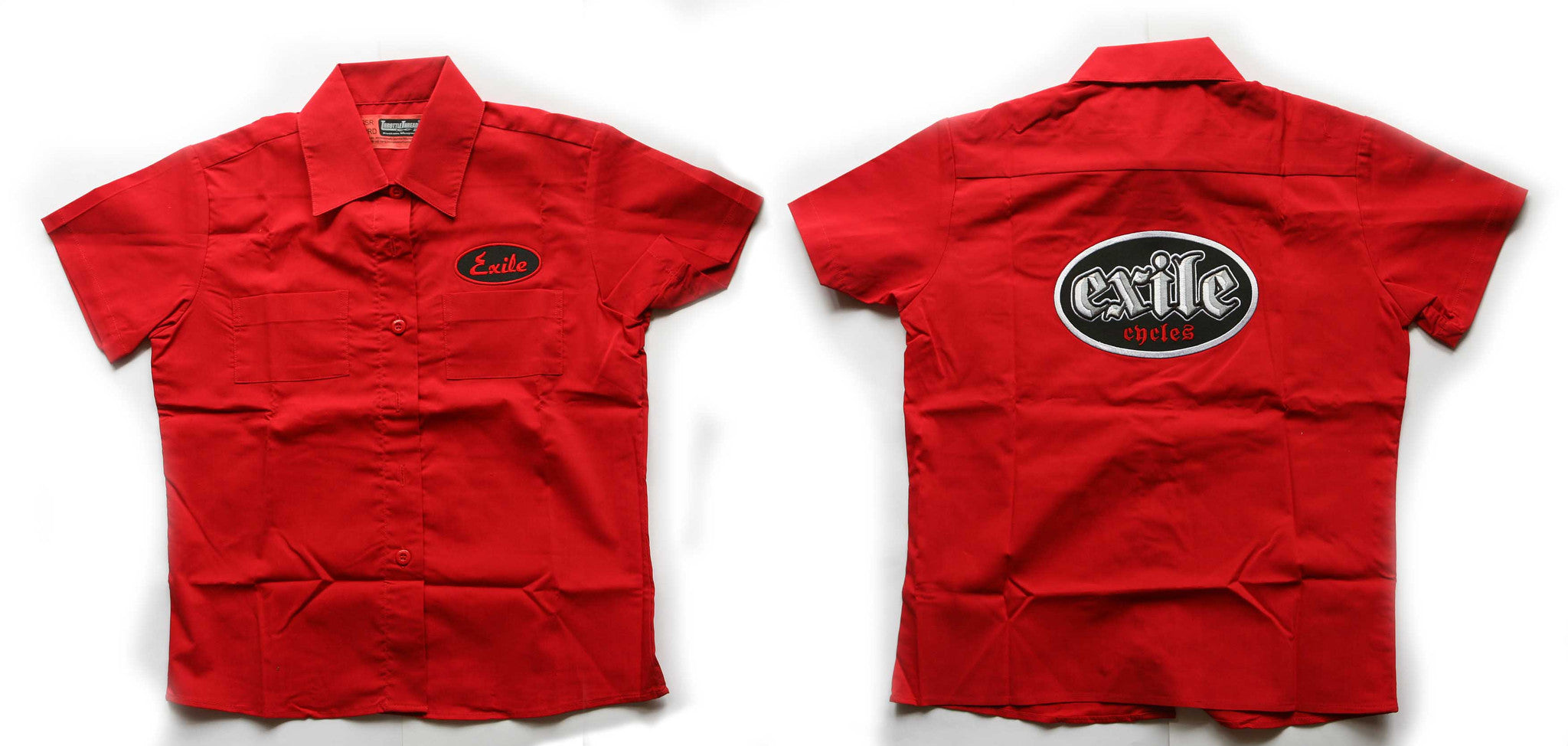 Exile Cycles Girls, Fitted Workshirt, short sleeve, Red - rodehawg