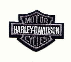 Bar and Shield Harley Silver Patch 10cm - rodehawg