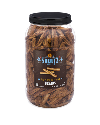 Shultz Honey Wheat Braided Pretzels - (6) 23 oz tubs/case