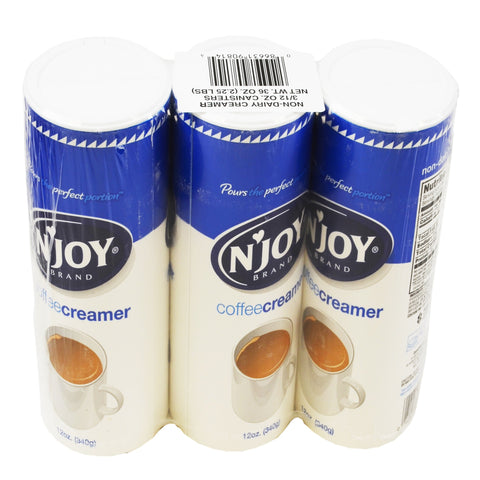N'Joy Non-Dairy Creamer Canister - (8) 3 pks 12 oz canisters/case
