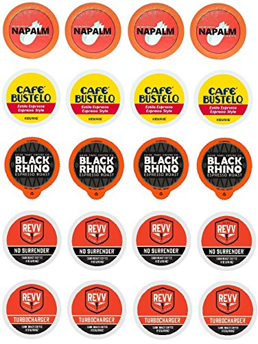 High Octane Variety K-cup Sampler Pack for Keurig 2.0 - Napalm, Café Bustelo Espresso, Black Rhino, Revv No Surrender, & Revv Turbocharger - 20 Count 5 Varieties