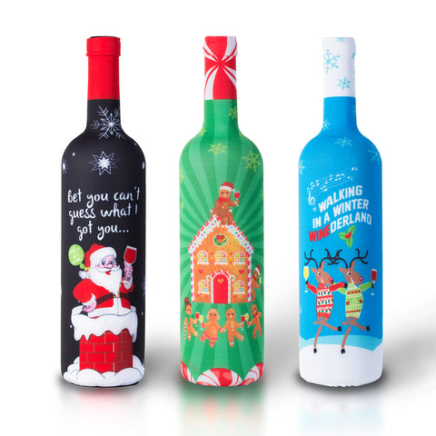 Tipsy Christmas Wine Bottle Covers - 3 Pack - The Perfect Holiday Gift!