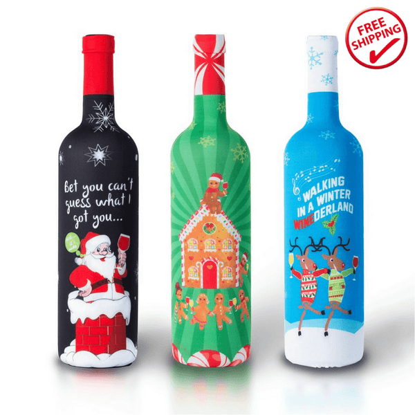 Tipsy Christmas Wine Bottle Covers - EXCLUSIVE HOLIDAY OFFER!