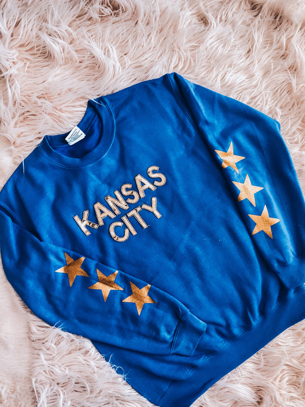 Blue Star Sequin Kansas City Sweatshirt