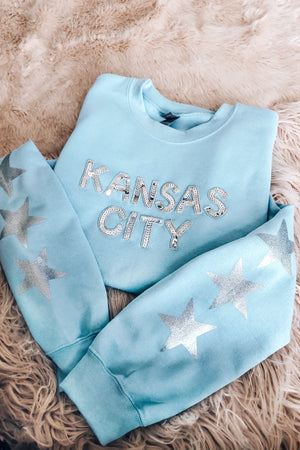 Light Blue Star Sequin Kansas City Sweatshirt