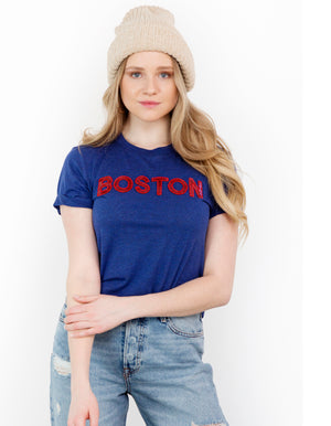 Navy Boston Sequin Crew Tee