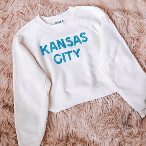 Beaded Kansas City Cropped Sweatshirt
