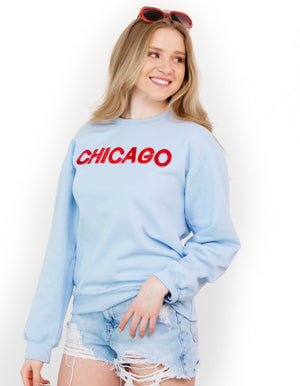 Powder Blue Chicago Sequin Sweatshirt