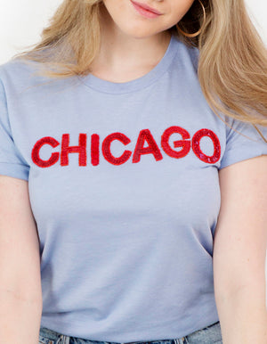 Light Blue Chicago Sequin Tee