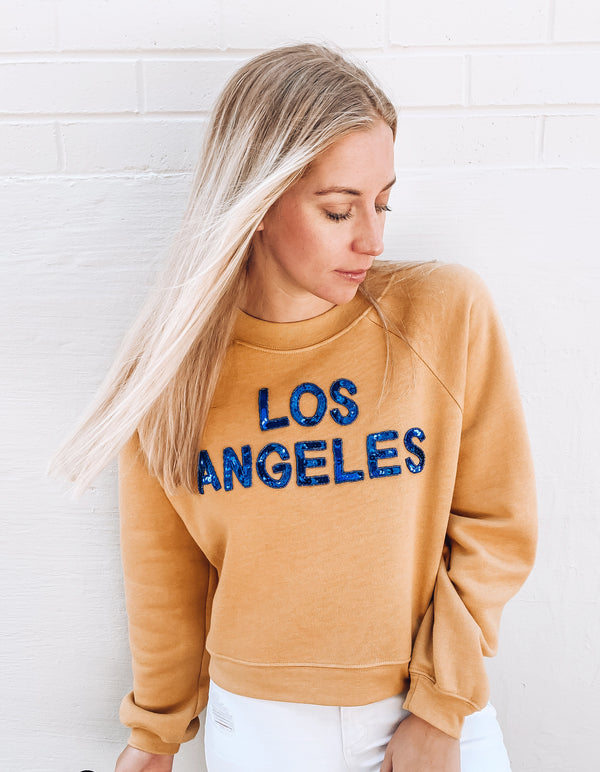 Los Angeles Sequin Cropped Sweatshirt