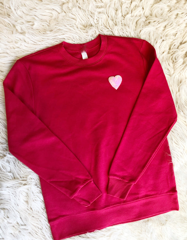 Red Sequin Heart Sweatshirt