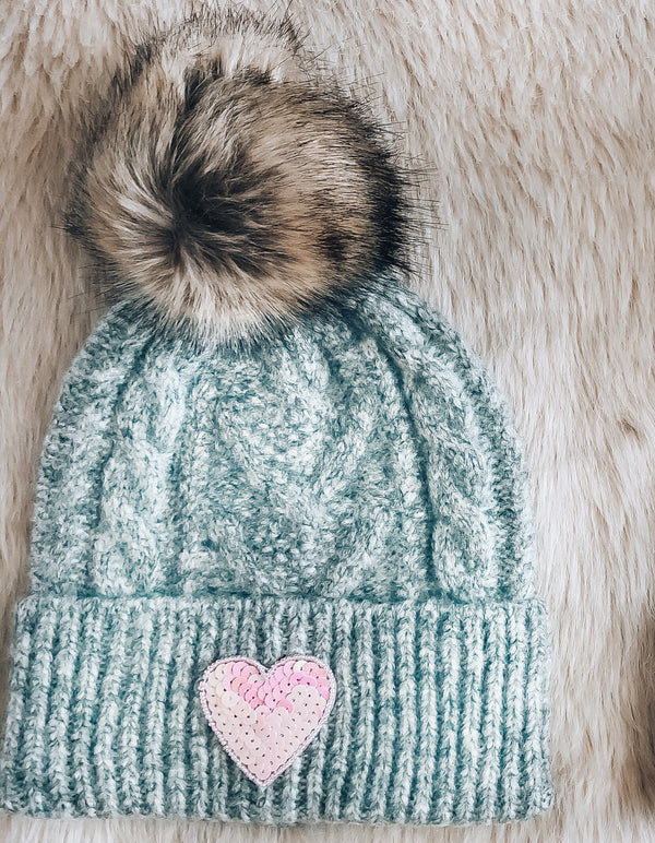 Gray Sequin Heart Beanie