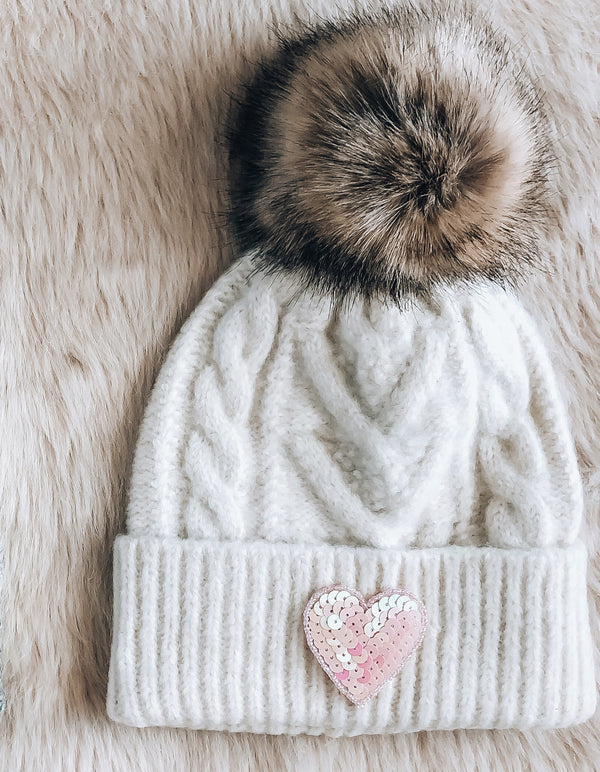 Ivory Sequin Heart Beanie