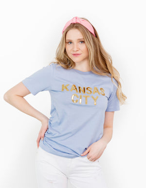 Powder Blue Kansas City Sequin Tee