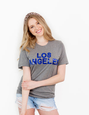 Gray Los Angeles Sequin Crew Tee